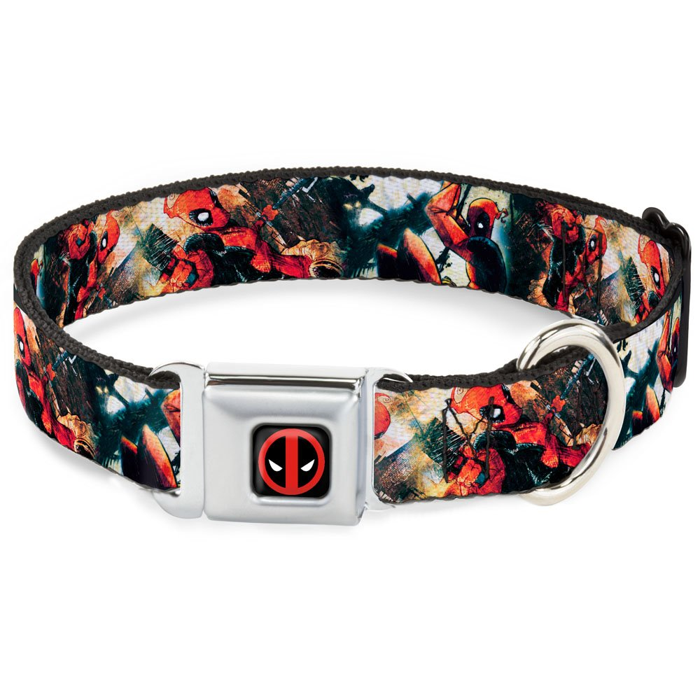 WL Fits 18-32\ Buckle-Down Seatbelt Buckle Dog Collar Deadpool Action Poses Collage 1.5  Wide Fits 18-32  Neck Large