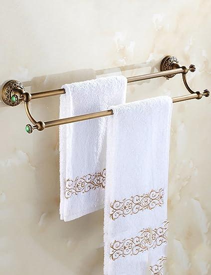 Desorbitarte de toallas- Full Copper Europea Antiguo doble polo toalla Rack Retractable alta y baja barra ...