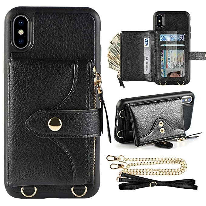 low priced 32a89 5c027 Amazon.com: LAMEEKU Wallet Case for iPhone Xs and iPhone X 5.8 ...