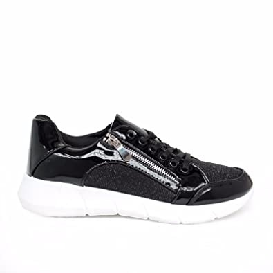 GIRLS WOMENS TRAINERS PLIMSOLLS SNEAKERS SHOES SIZE ZIP PULL SYNTHET LEATHER NEW