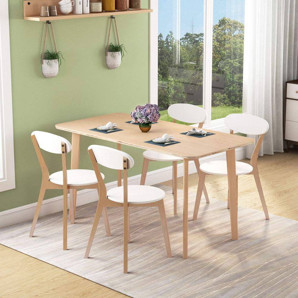 Details about Tribesigns Round Corner Dining Table, Modern Solid Wood  Dining Room Table Set