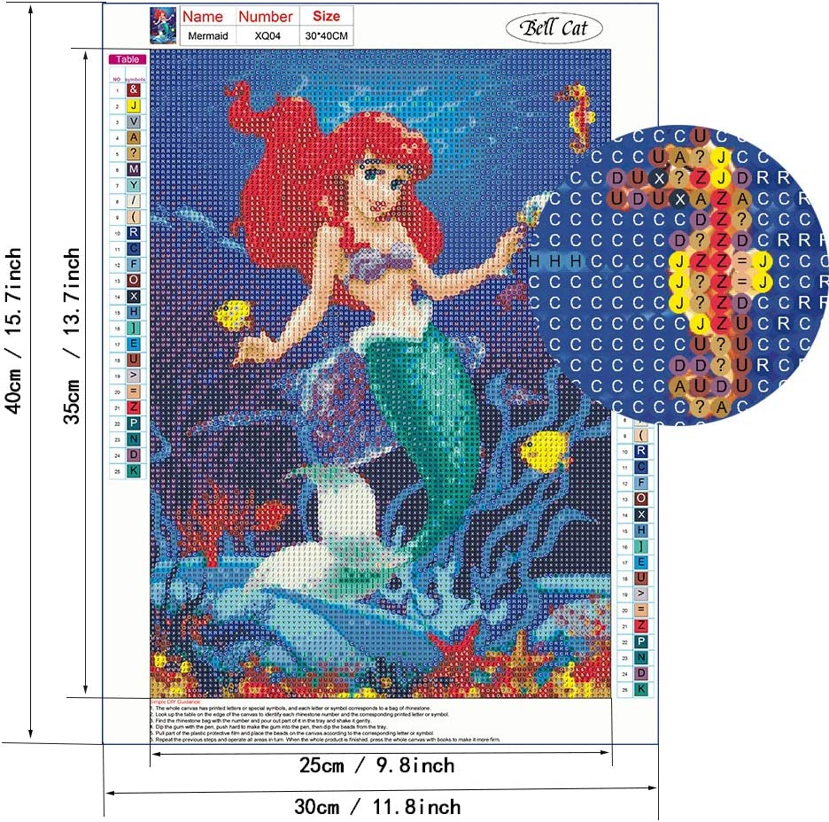 Mermaid 5d Diamond Painting Kits- Full Coverage Round Rhinestone DIY Tool Kit Art Supplies- Fun Gifts for Friends /& Family Adults /& Children Craftwork for Indoor Decoration, Canvas:12x16