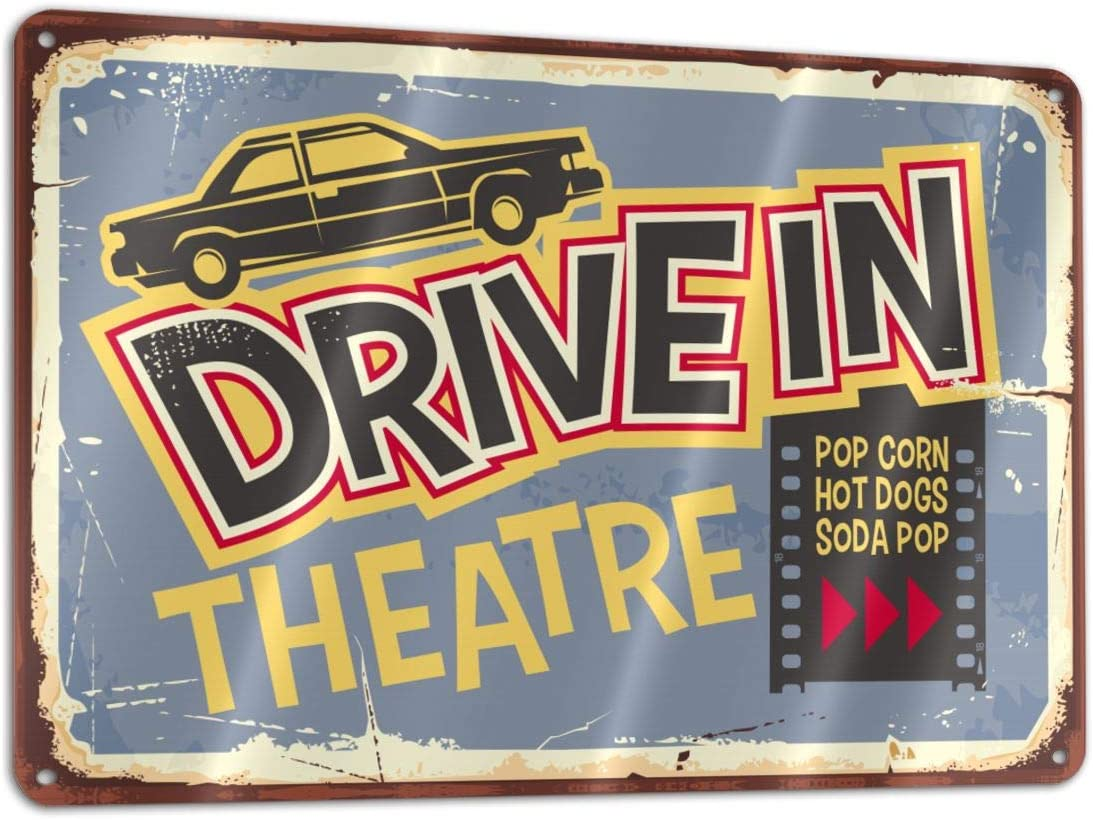 Bargburm Drive in Theater Sign Funny Sign Tin Art Wall Decor, Vintage Aluminum Retro Metal Sign, Iron Painting Vintage Decorative Signs, Coffe Wall Decoration