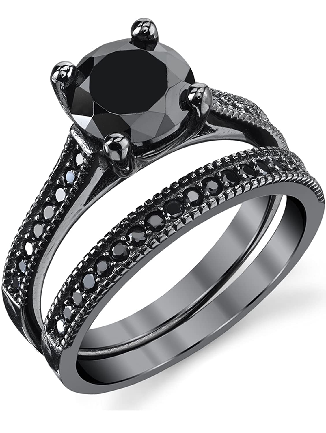 Metal Masters Co. Black Sterling Silver 1.25 Carat Round Black Cubic Zirconia Engagement Wedding Ring Bridal Set SILRXXX235