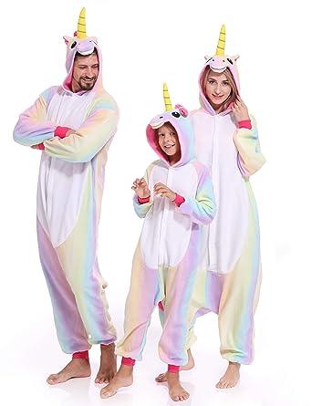 amazoncom unicorn onesies pajamas animal cosplay kigurumi unisex halloween costume hoodie outfit for adult kids clothing