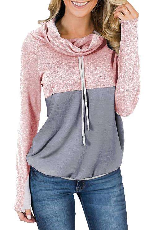 HOTAPEI Women Cowl Neck Striped Long Sleeve Drawstring Pullover Top Sweatshirt Pockets