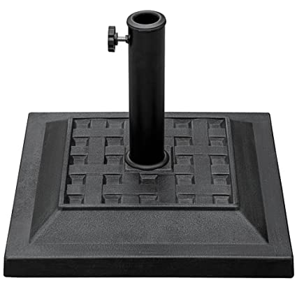 Exceptional Sundale Outdoor Universal Square Cast Stone Patio Umbrella Base Metal Heavy  Duty Stand, Black,