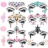 Face Gems Glitter - 8 Sets Mermaid Face Jewels Rhinestone Tattoo Face Glitter Bindi Crystals Rainbow Tears Face Gems Stickers Fit for Festival Party
