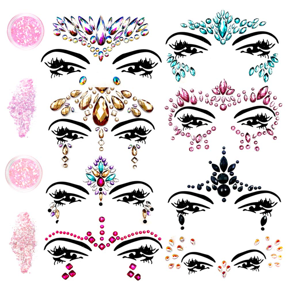 Face Gems Glitter - 8 Sets Mermaid Face Jewels Rhinestone Tattoo Face Glitter Bindi Crystals Rainbow Tears Face Gems Stickers Fit for Festival Party by LanGui (Image #1)