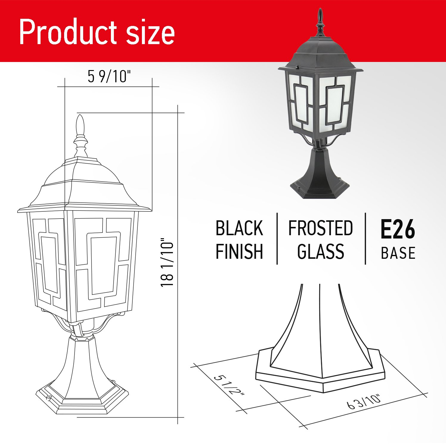 IN HOME 1-Light Outdoor Garden Post Lantern L05 Lighting Fixture, Traditional Post Lamp Patio with One E26 Base, Water-Proof, Black Cast Aluminum Housing, Frosted Glass Panels, (2 Pack) ETL Listed by IN HOME (Image #4)