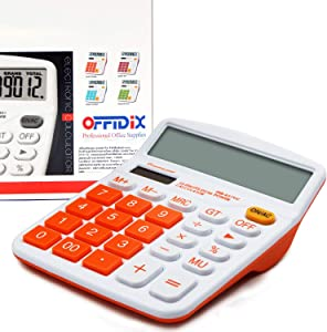 OFFIDIX Office Desk Calculator, Solar and Battery Dual Power Electronic Calculator Portable 12 Digit Large LCD Display Desktop Calculator,Handheld for Daily and Basic Office(Orange)