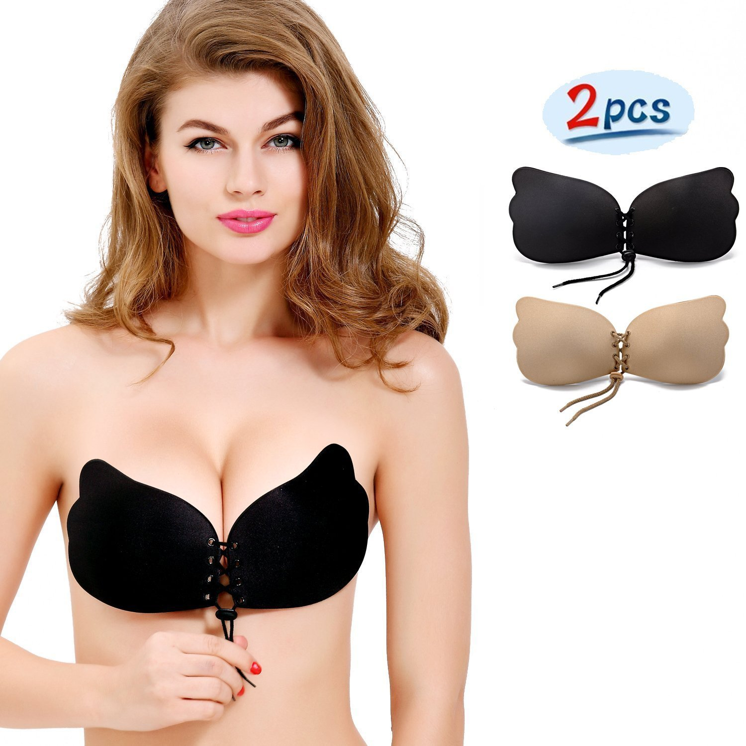 d6d26674dc84f NATIA Strapless Backless Push-up Silicone Drawstring Bra  New Version  (2  Pack)  Amazon.ca  Clothing   Accessories