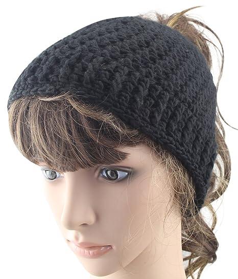 MINAKOLIFE Womens Handmade Messy Bun Hats Ponytail Beanie Homemade Gifts  (Black) 159203096ad