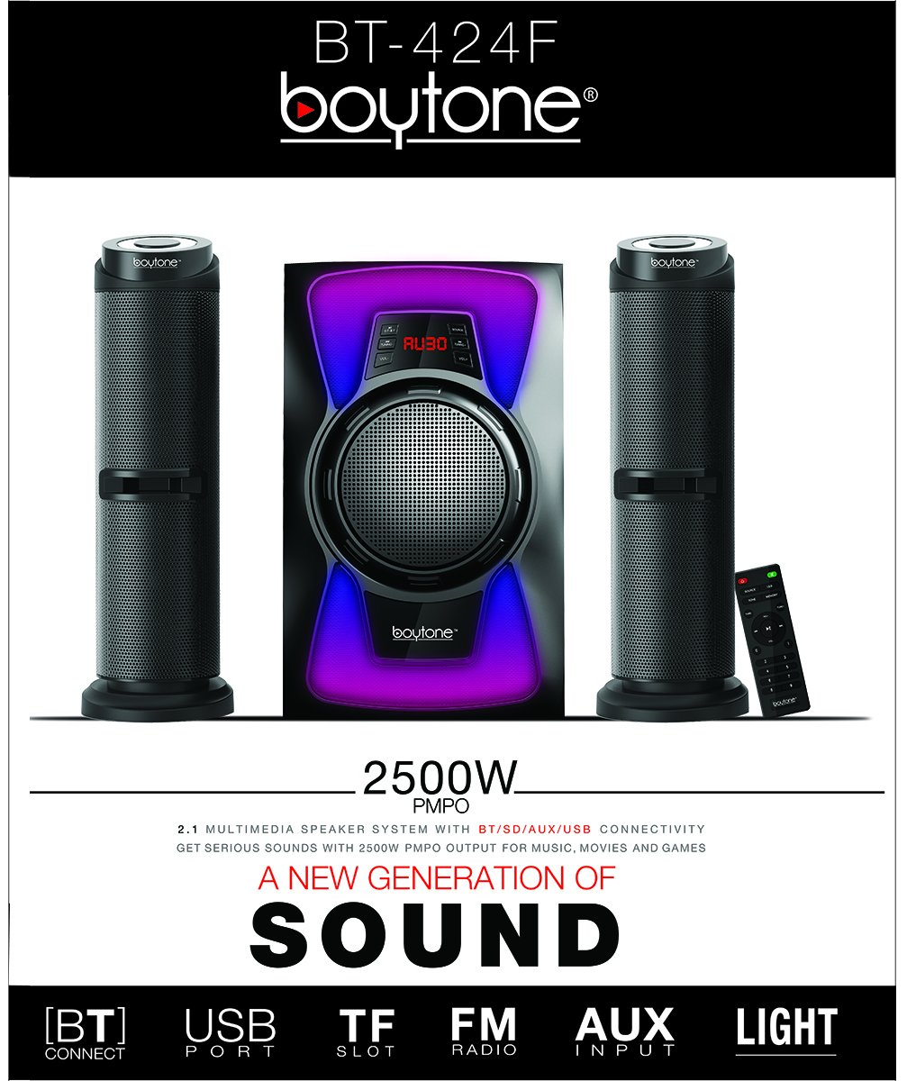 USB//SD//AUX//FM Boytone BT-424F 2.1 Bluetooth Home Theater Speaker System