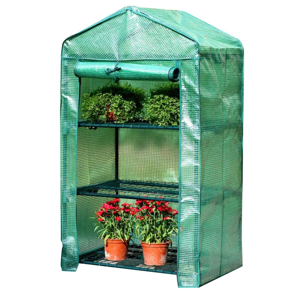 GREEN 69x49x125cm GREEN 69x49x125cm HAIPENG Walk-in Greenhouse Garden Hothouse 3 Tier Plant Grow House Mini Cover with Roll Up Door Portable Cold Frames (color   GREEN, Size   69x49x125cm)