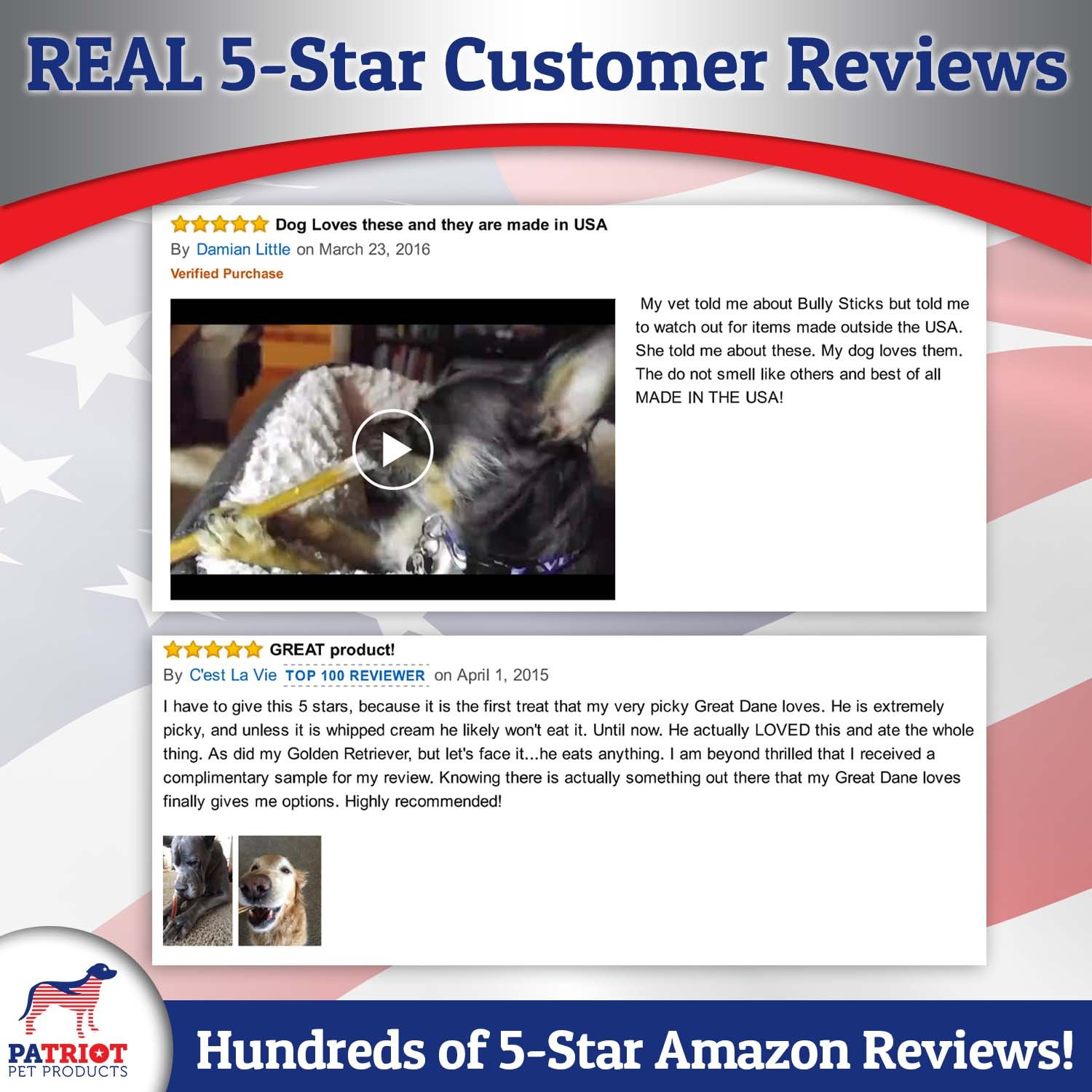 Patriot Pet Natural Low Odor Pizzles American Beef Low Fat High Protein USDA Approved 6- Inch Bully Sticks Chews for Dogs, Pack of 18
