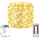 Homemory 200 LED Fairy Lights with Remote, 66FT Battery Operated Long String Lights, 8 Modes Copper Wire Halloween Twinkle Li