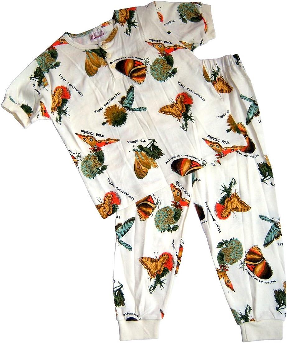 US Giftwear Girls Butterfly Print Short Sleeve 2-pc Pajama Set Size:12m 3x4