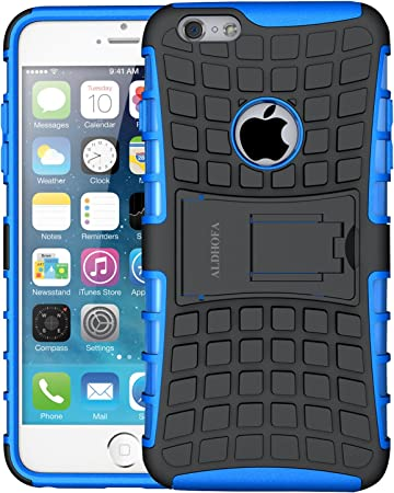 iPone 6 Case, iPhone 6s Case, ALDHOFA Hybrid TPU Protective Phone Case,Dual Layer Cover with Kickstand for iPhone 6 / 6s - Blue