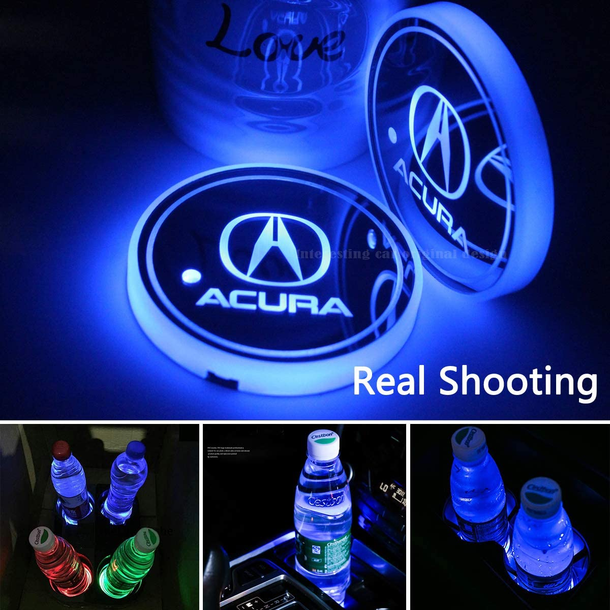 2pcs LED Car Cup Holder Lights for Acura,7 Colors Changing USB Charging Mat Luminescent Cup Pad, LED Interior Atmosphere Lamp