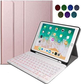 N/B Teclado Inalámbrico para iPad, 9.7 iPad Teclado Funda Portalápices de Apple Incorporado, Bluetooth Teclado Tablet con 7 Retroiluminados Colores ...
