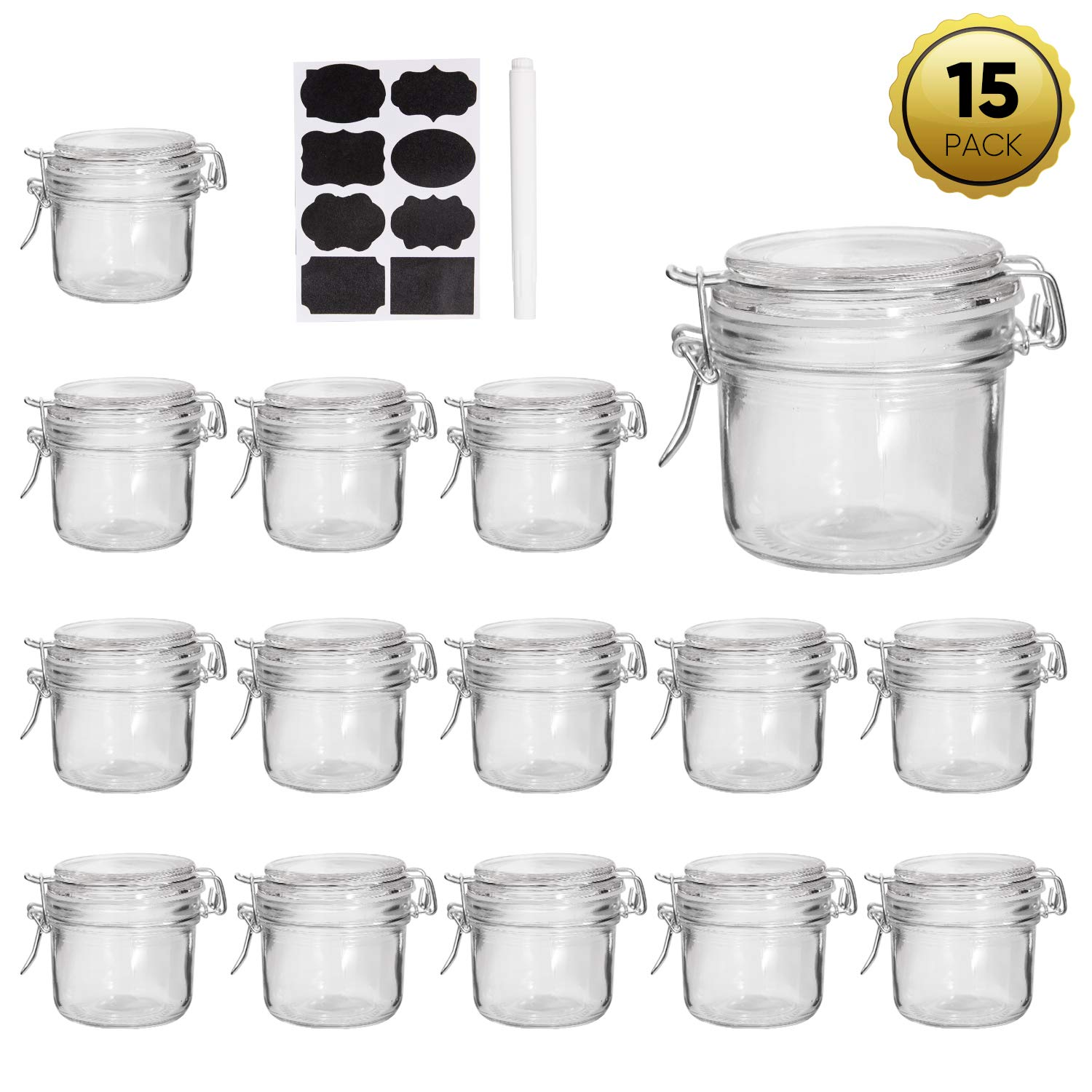 Mason Jars,Accguan Glass Jars With Rubber Gasket And Hinged Lid,7 OZ Small Canning Jars,Ideal For Storage,Coffee,Beans,Sugar,Snacks,Candy,Coookies,Dry Food,Set Of 15