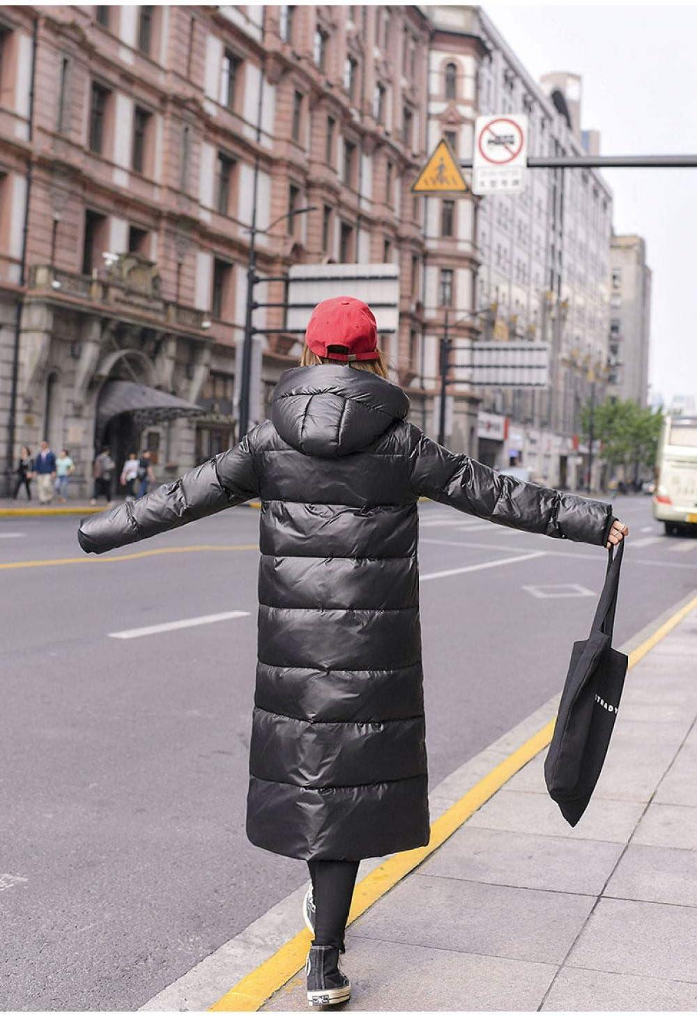 DPKDBN Doudoune, Duck Femmes Hiver Veste Longue Manteau Épais pour Les Femmes À Capuchon en Duvet Parka Chaud Vêtements pour Femmes Imperméable À l'eau Noir