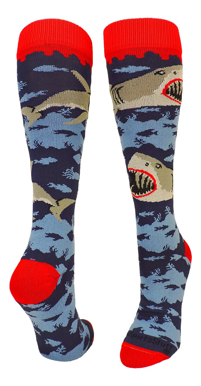 MadSportsStuff Great White Sharks Over The Calf Socks (Navy/Scarlet/Grey, Small)