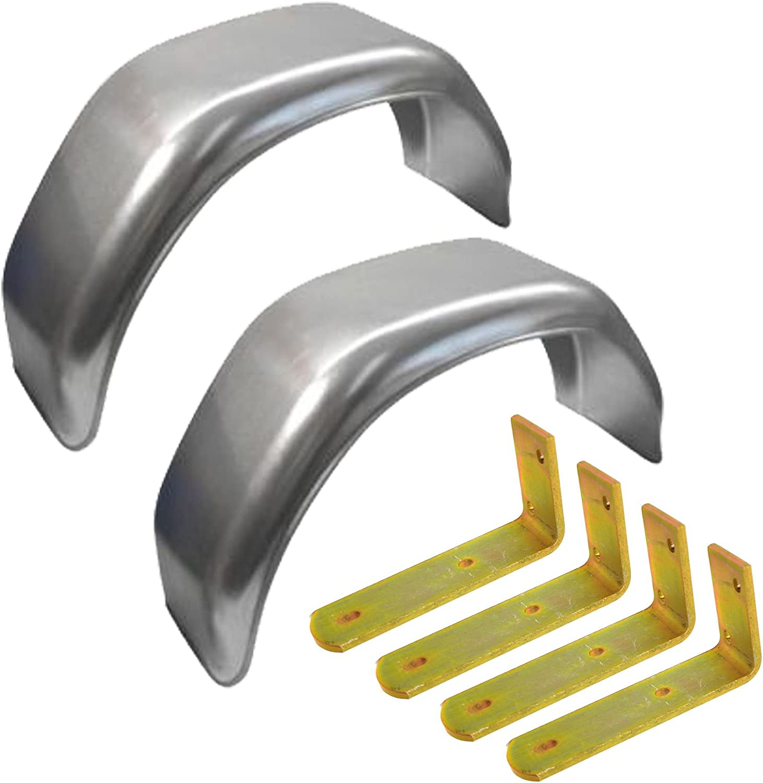 AB Tools-Maypole 13 Metal Mudguards Fender Pair Flush Fit /& Mud Guard Angle Brackets 4 Pack