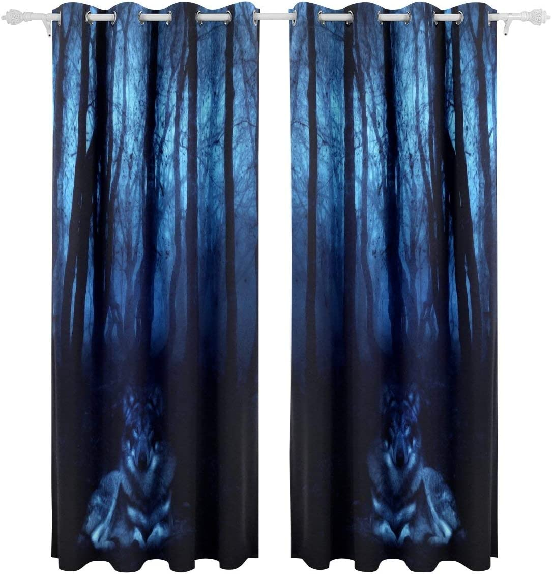 ALAZA Living Room Window Curtain Blue Night Mystical Wolf in Scary Forest Curtains Blackout 84 Inch Length 2 Panels for Kids Children Decorative,84 by 55 In,Polyester,Block Out 80% Light