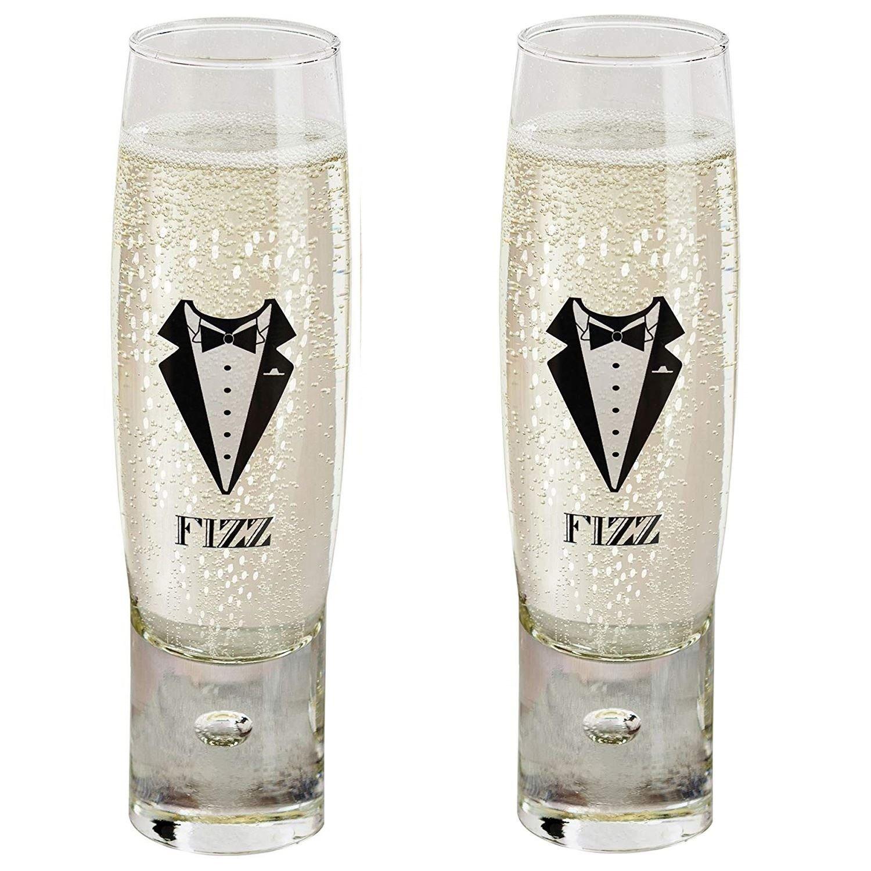 Durobor Alternato Bubble Base Set of 2 Gents Fizz Stemless Champagne Glasses
