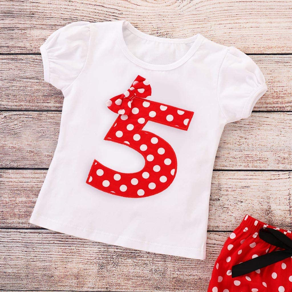 Waymine Infant Girls Short Sleeve Number 1//2//3//4//5 Embroidery Dot Bow Tops+Shorts Set
