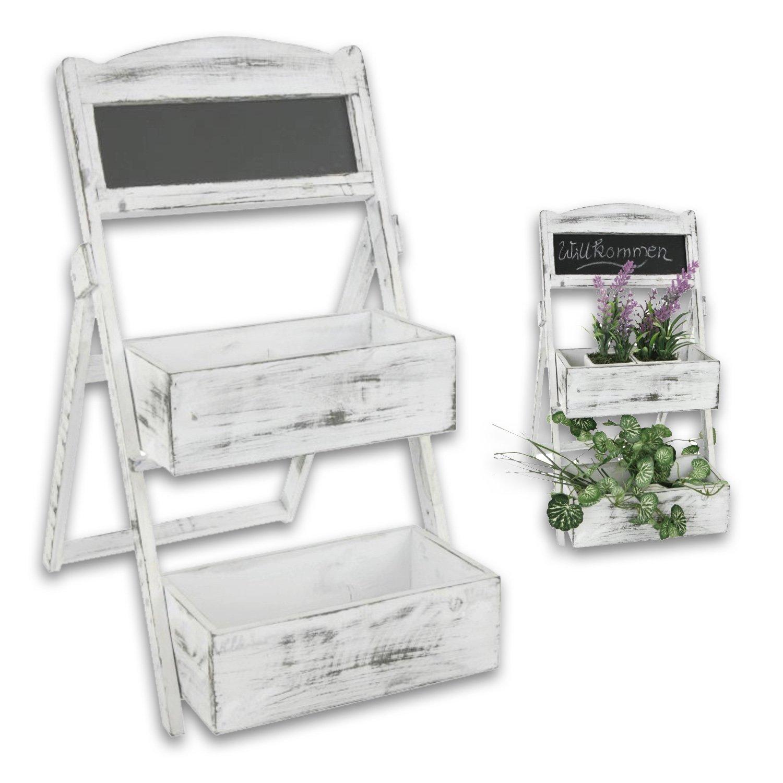 'Présentoir à gâteaux ou escalier de plantation avec tableau en bois modèle Chalet dans blanc cérusé