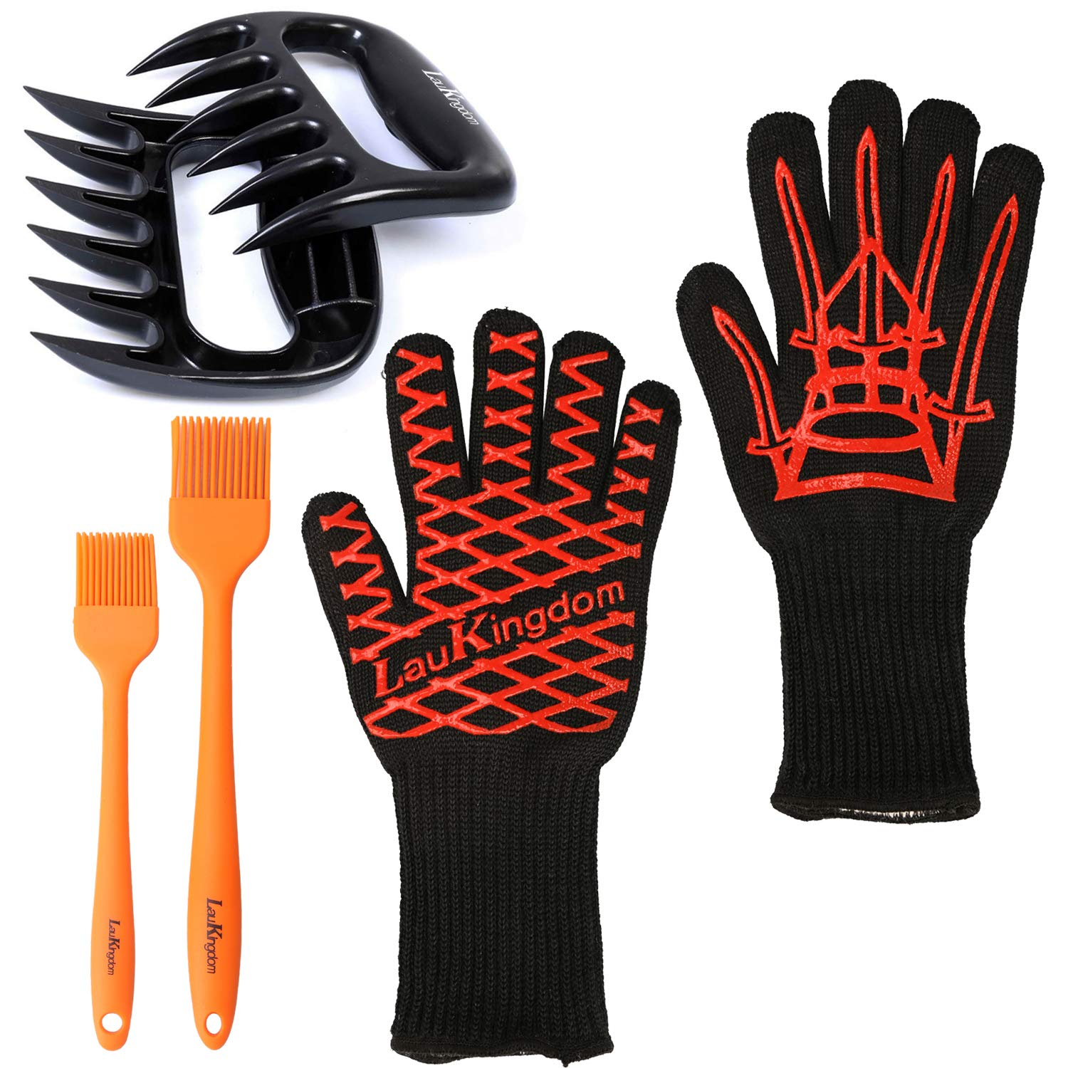 BBQ Cooking Tool Set Grilling Accessories Includes Silicone Extreme Heat Resistant Gloves, Meat Claws Plus Non-Slip Basting Brushes for Your Indoor and Outdoor Needs for Grilling, Baking and Barbecue LauKingdom