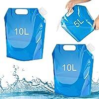 Tuofang 3Pack Recipiente de Agua Plegable, 5 L+ 2 x 10 L Bidón de Agua Plegable, Bolsa de Agua Plegable, Recipiente de…
