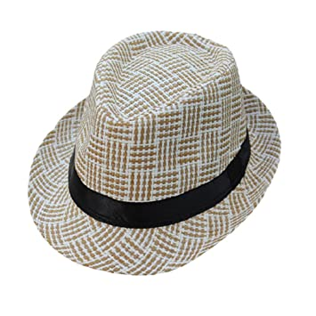 a075677b54c ShenPourtor Men Women s Summer Panama Style Trilby Fedora Straw Sun Hat  Lattice Pattern WIth Stylish