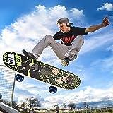 Gluckluz Skateboard Maple Double Kick Concave Deck Skating Skateboard (Green, 43 x 13cm)