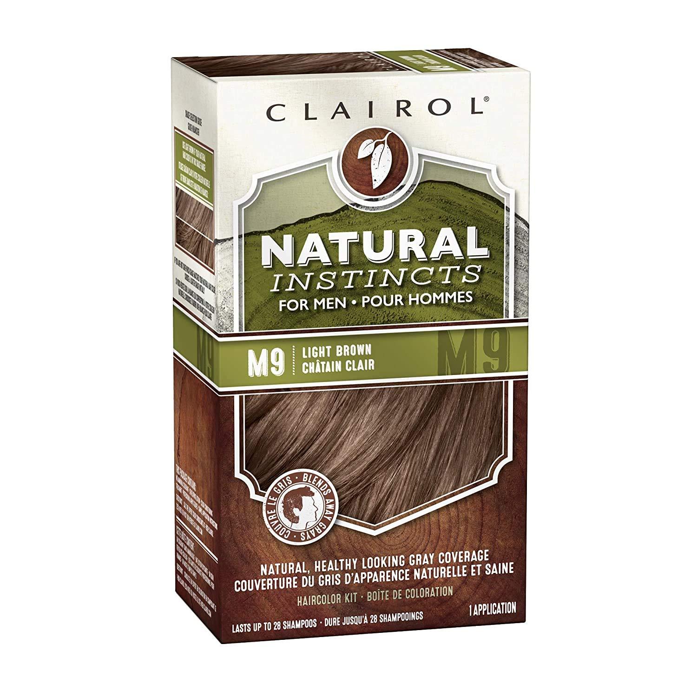 Clairol Natural Instincts Semi-Permanent Hair Dye Kit for Men, Light Brown, 3 Count