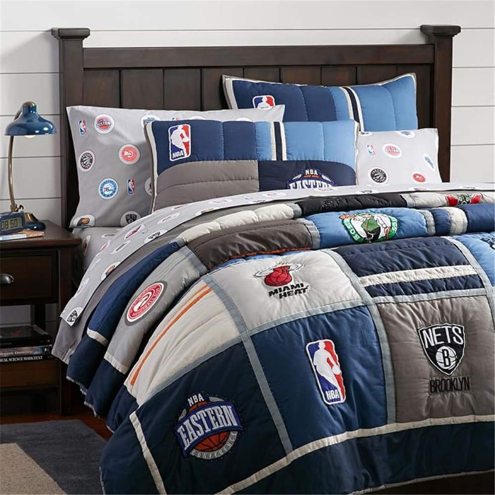 EVDAY Sports Quilt Set for Boys Soft 100% Cotton Reversible Handmade Patchwork Bedspread Featuring NBA Logo Design Kids Comforter Set 2Piece Including 1Quilt,1Pillowcases Twin Size