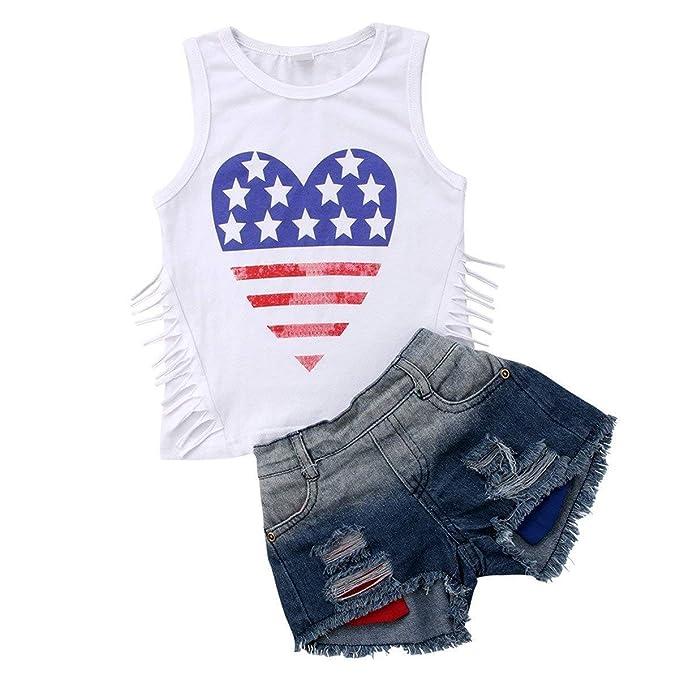 dda65b9144 Newborn Infant Baby Girls Outfits USA Flag Stripe Star Print Sleeveless  Pullover T-Shirt +