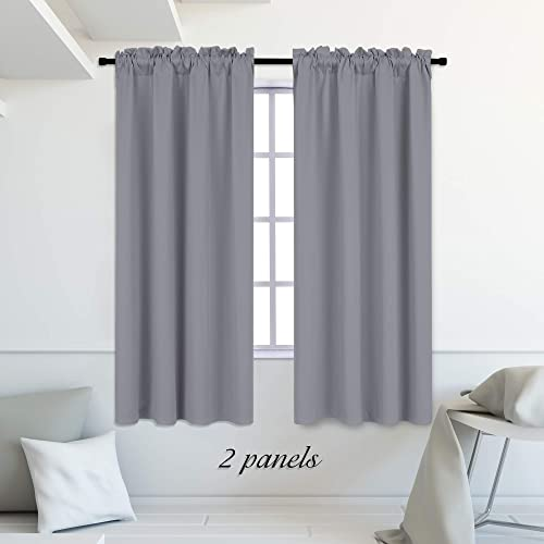 DONREN 72 Inches Long Room Darkening Curtain Draperies for Living Room – Blackout Solid Rod Pocket Curtains for Dining Room 2 Panels,Medium Grey