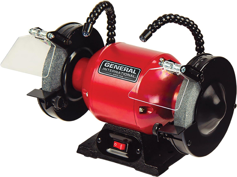 "General International BG6001 6"" 2A Bench Grinder, Red, Black & Gray"
