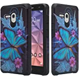 Jitterbug Smart (5.5inch) Case, [Impact Resistant] Silicone Hybrid Dual Layer Defender Protective Case Cover for Jitterbug Smart Phone Case Easy-to-Use 5.5 - Blue Butterlfy