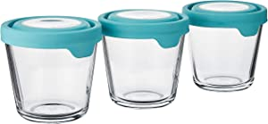 Anchor Hocking TrueSeal Glass Food Storage Containers with Airtight Lids, 3.5 Cup (Individual), Mineral Blue