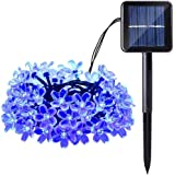 Qedertek Cherry Blossom Solar String Lights, 22ft 50 LED Waterproof Outdoor Decoration Lighting for Indoor/Outdoor, Patio, Lawn, Garden, Christmas, and Holiday Festivals (Blue)