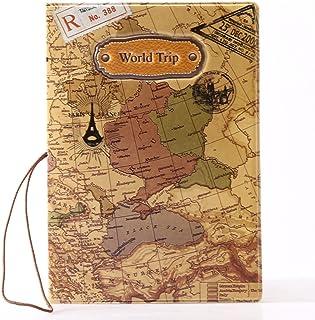 Custodia PU Cuoio per Passaporto Portadocumenti Carta di Credito ID da Viaggio Stampa Mappa del Mondo Passport Holder, Blu 3675641