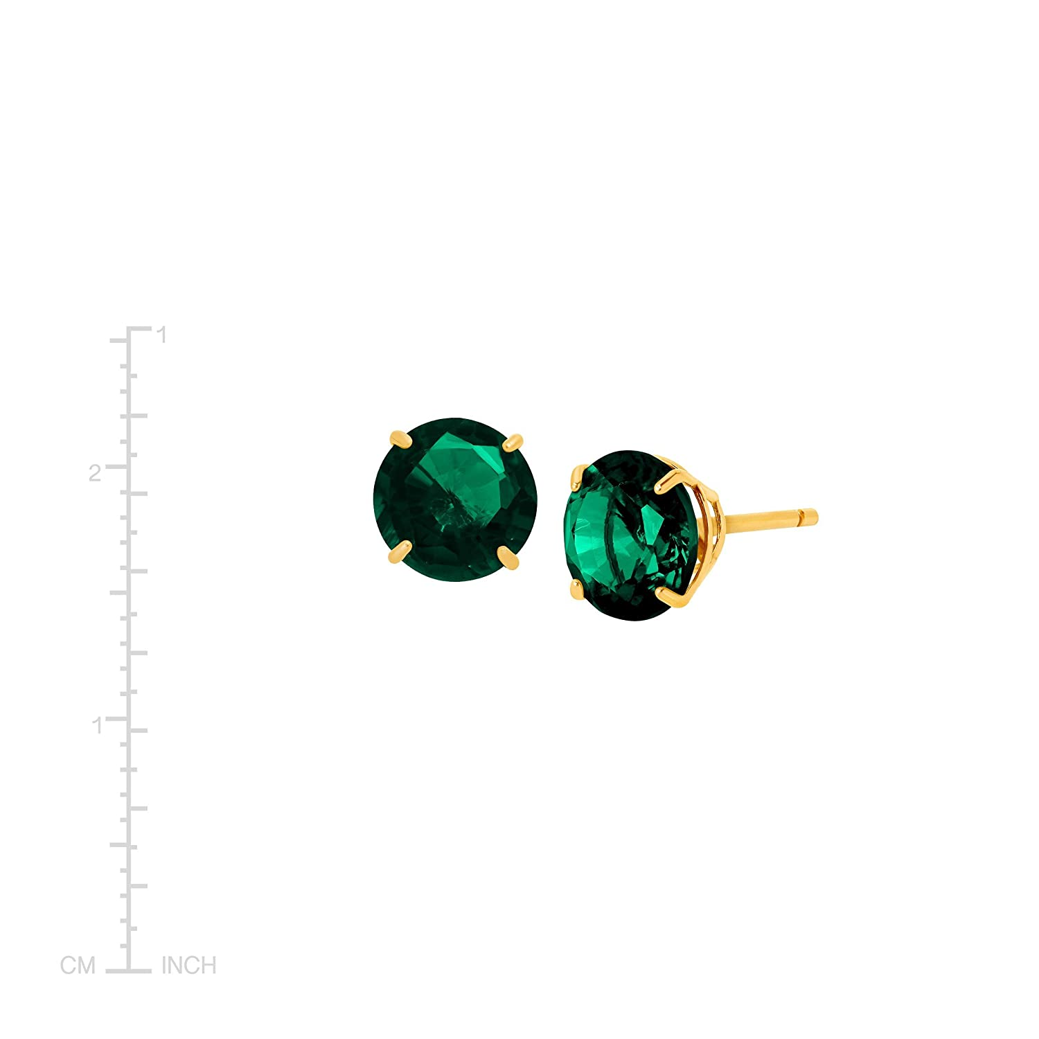 1 1//2 ct Created Emerald Round-Cut Stud Earrings in 10K Gold