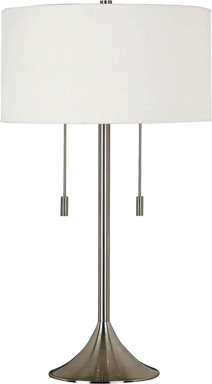 Kenroy Home Kenroy 21404BS Transitional Two Light Table Lamp from Stowe Collection in Pwt, Nckl, B/S, Slvr. Finish, 17.00 inches, Brushed Steel