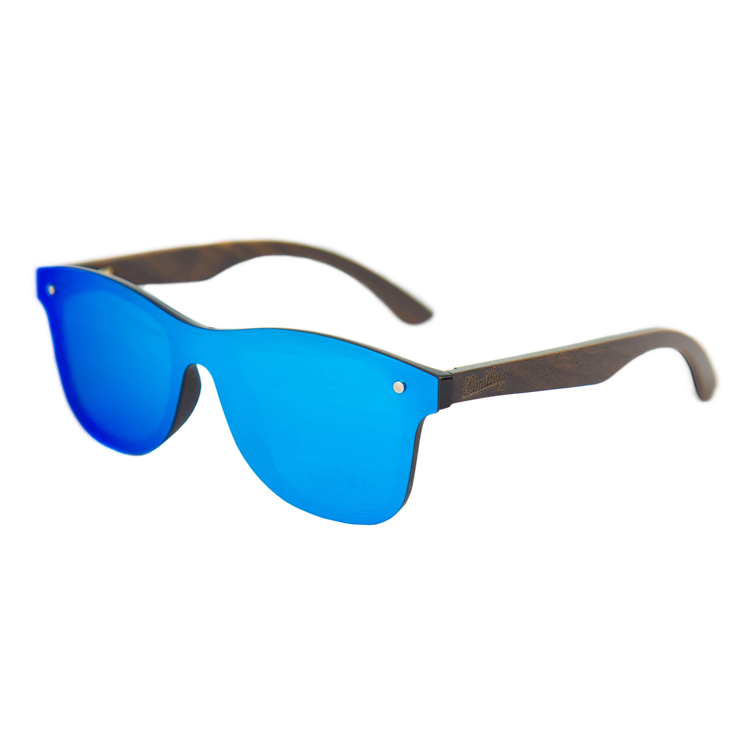 Limitless Wooden Sunglasses, Wooden Retro Frameless Sunglasses, Vintage Mirror UV400 Polarized Rimless Eyewear (Retro Blue, Blue)