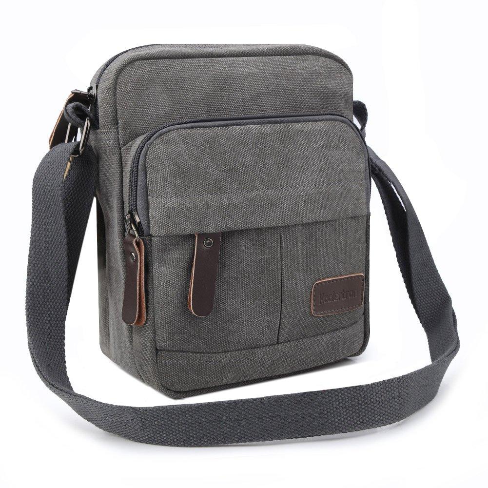 Koolertron Vintage Canvas Crossbody Shoulder Bag Lightweight Small Satchel Bag For Men & Women (Grey, 6.88''(W)8.26''(H)3.9''(D))